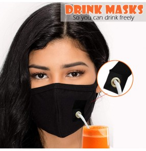 3PCS Black reusable face masks with hole drink freely mouth cover face masks for unisex