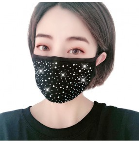3pcs bling cotton reusable face masks for women rhinestones photos video shooting party performance mouth mask for female
