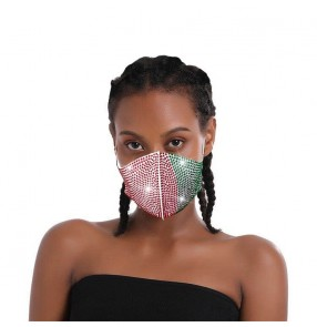 3PCS bling green with red reusable face mask for women party stage performance protective mouth mask for female