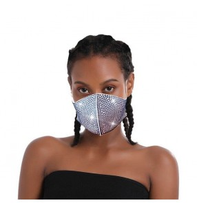 3PCS bling reusable face masks for female  rhinestones party performance photos shooting protective mouth mask for women