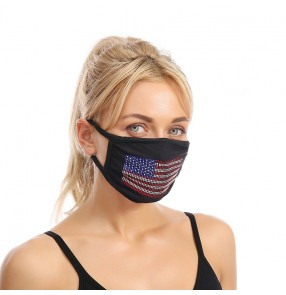 3pcs Bling Reusable face masks for unisex American flag pattern diamond protective mouth mask for women and men