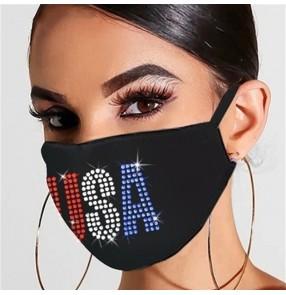 3pcs Bling reusable face masks for women and men Sunscreen Dustproof Color Rhinestone Flash Diamond American Flag Cloth Mask Washable