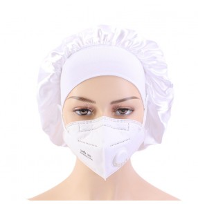 3pcs Doctor medical staff ear saver wearing mask bonnet with button satin sleep cap turban for unisex