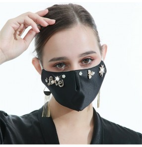 3PCS fahion bling love pattern reusable face masks for women photos video shooting washable face masks for female
