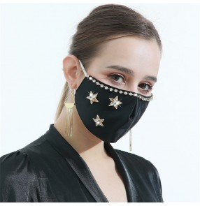 3pcs fashion star pattern bling reusable face masks for women and men washable photos video shooting face masks for female