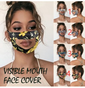 3PCS floral printed resuable face masks for unisex visible transparent TPU mouth mask protective mask for women men