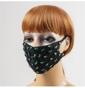3PCS green rhinestones bling reusable face masks for women fashion mouth mask for party stage performance photos shooting face masks
