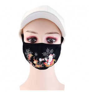 3PCS Merry christmas reusable face masks for women and men washable breathable fashion xmas bling face masks for unisex