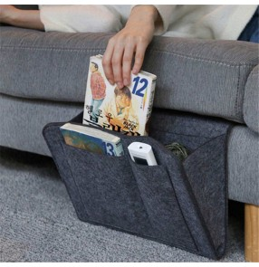 3pcs Nightstand wool Storage bags Bedside remote control book storage bag bed folder bag Sofa tablet organizer bag