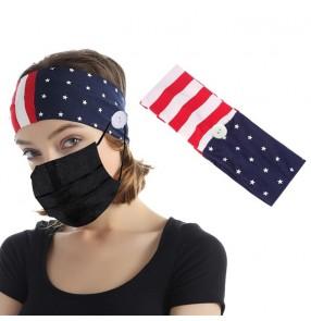 3PCS Nurse wearring mask ear saving head band for unisex turban with button sports yoga elastic hair band