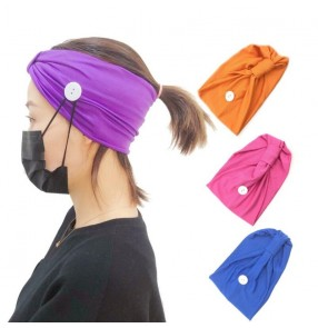 3PCS Nursing ear saver wearing face mask Headband turban sports yoga knitted sweat-absorbent hair band with button