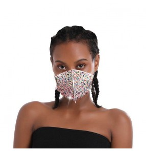 3PCS Reusabale rhinestones face masks for women party masquerade cosplay mouth mask for women