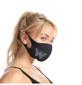 3PCS reusable bling black face masks for unisex party night club photos shooting protective mouth mask for women and men