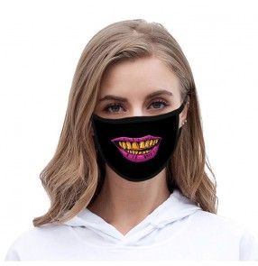 3PCS reusable face mask with funny expression printed protective mouth mask for women and men