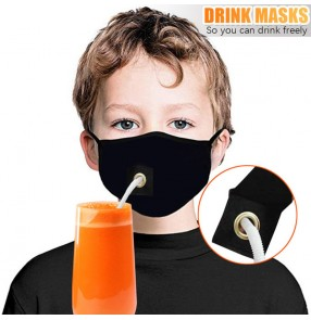 3PCS reusable face masks for children with hole drink freely face masks for kids