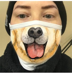 3pcs Reusable face masks for unisex dog funnly expression 3d printed protective face mask for women and men