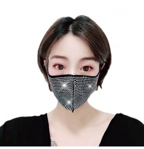 3pcs Reusable face masks women's fashion party performance rhinestones face masks for party