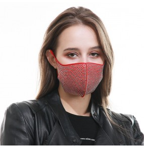 3PCS rhinestones bling red reusable face masks for women party stage performance dance masquerade photos shooting face mask
