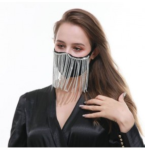 3pcs rhinestones tassels bling reusable face mask for female belly dance stage performance veil mask photos shooting masquerade face mask