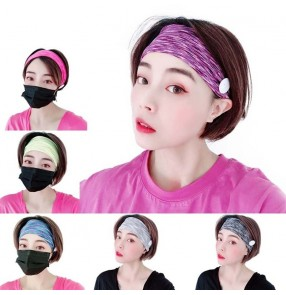 3PCS Sports yoga running outdoor cycling sweat absorb head band with button for women ear saving wearing mask elastic hair band