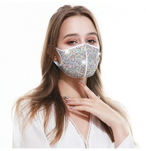 3PCS white rainbow rhinestones cotton reusable face mask for unisex fashion bling face mask for party stage performance masquerade