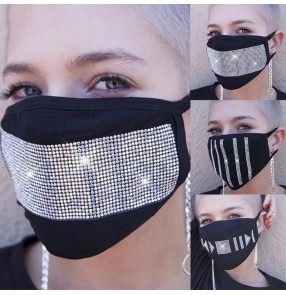 3pcs Women's fashion rhinestones reusable face masks dust proof protective mouth mask for female
