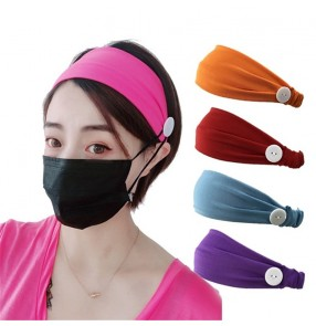 3PCS women's Yoga sports elastic headband with button ear saving wearing mask turban elastic hair band for female