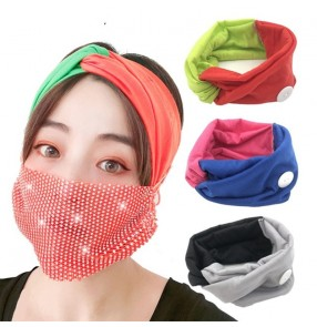 3PCS women Yoga outdoor sports gyms fitness elastic headband with button ear saving wearing mask cycling running tuban hair band