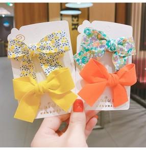 4pcs Baby Floral Bow Hairpin Barrette Children's sweet cute princess fairy princess hairpin hair clip Korean girls headdress hair accessories