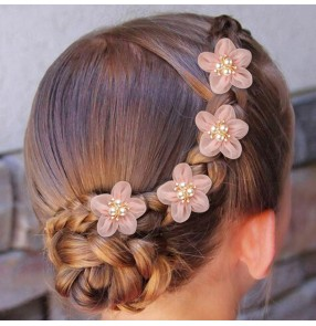 4pcs Child little girl with curly hair Hairpin princess stage peformance flowers fairy barrette braided hair headdress for kids