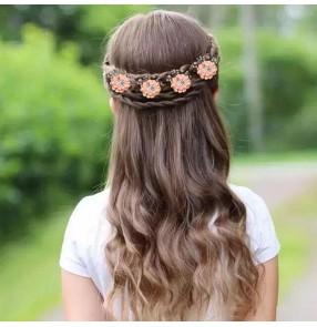 4pcs Children girls hair accessories princess fairy dresses barrette beaded fabric flower hair buckle Pan hairpin flower girls party dress accessories side clip