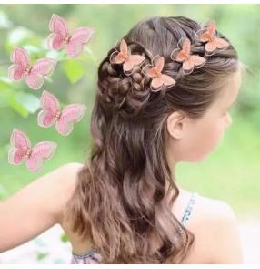 4pcs Children's butterfly hair Hairpin princess fairy embroidery barrette buckle clip handmade hair clip little princess girl hair accessories baby hairpin