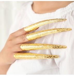 4PCS Women's chinese ancient traditional Qing Dynasty drama empress queen finger cots palace film princess cosplay metal false long nail fake nail protector