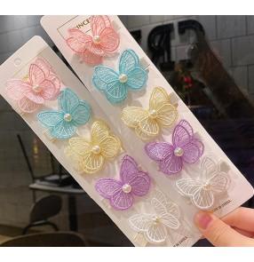 5 pairs pink blue violet Embroidered butterfly hairpin Hanfu princess fairy dresses headdress barrette Girls children clip princess little girl bangs hair clip