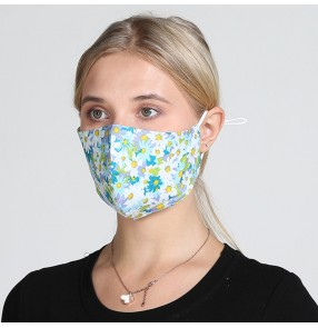 5pcs cotton floral reusable face masks for women breathable dust proof protective washable mouth mask for female