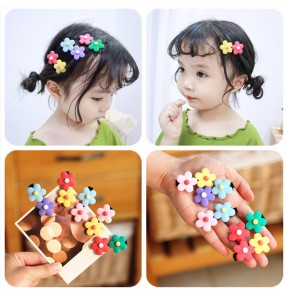 5PCS Korean children rainbow colored flowers barrette hair accessories baby stage performance photos shooting hairpin girl flower candy hairpin side clip