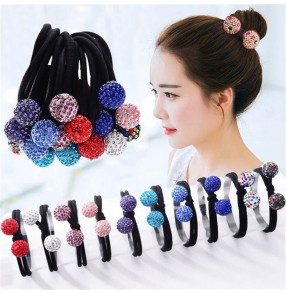5pcs mix color Korean style stones hair rope student adult head rope simple and versatile hair ring adult tie hair rubber band hair accessories head jewelry