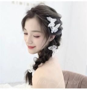 5pcs performance bridal Embroidered butterfly hair clip girl Mori style side clip bridal bangs photos shooting bride headdress