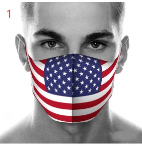 5PCS Reusable face masks for unisex American flag printed pattern running sports dust pm 2.5 proof protective mouth mask for women and men