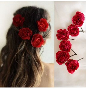 6PCS Red rose flower Hairpin for bridal headband photos shooting stage performance head flower hairpin film cosplay bridal hair accessories toast accessories