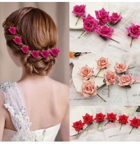 6pcs Women girls latin ballroom stage performance rose flowers Hair accessories hairpin fairy dress flower side clip barrette bangs clip hairpin bridal head jewelry