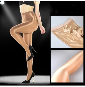 70D nightclub singer ds stage oily shaping socks for women female gogo dancers show oily pantyhose reflective stockings oily flashing socks