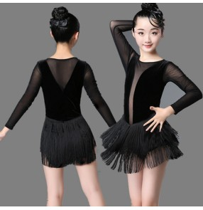 Girls velvet latin dance dresses tassels stage performance modern dance salsa chacha rumba samba dance dresses