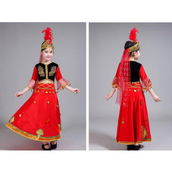 86913266a Girls xinjiang dance dresses uyghur minority stage performance dresses red  colored drama chinese folk dance costumes