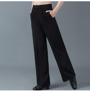 Men's black straight ballroom latin dance pants male jive stage performance samba rumba chacha samba dance trousers