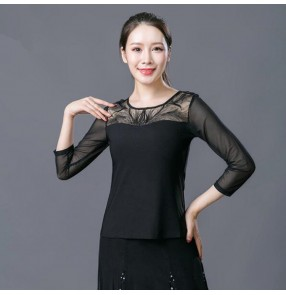 Black colored women ballroom dancing tops female latin rumba samba salsa chacha dance tops blouses