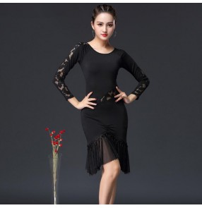 Black fringes women's latin dance dresses stage performance rumba salsa chacha samba dance skirts dress