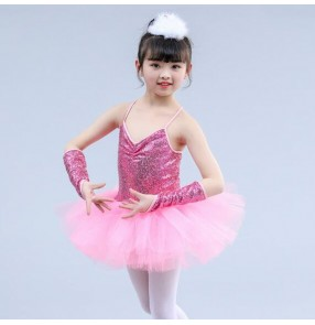Girls kids children white sequin modern dance jazz dance dresses singers chorus stage performance school show competition party ballet dress