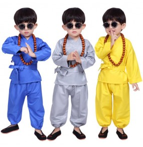 Boy kids Monk taichi kungfu martial cosplay costumes shaolin kungfu drama ancient stage performance costumes robes