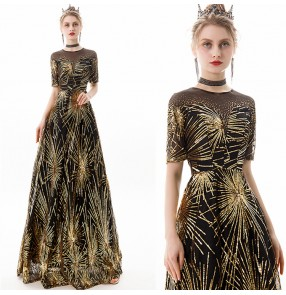 Women's black with gold evening dresses bridesmaid wedding cocktail party mermaid stage performance chorus singers long dresses